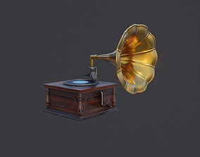 Vintage Gramaphone PBR Low Poly 3D Model realtime