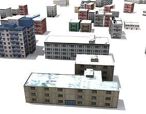 Building Collection Low Poly 3D asset