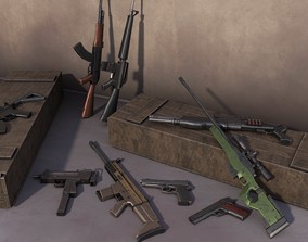 3D model low-poly Guns collection