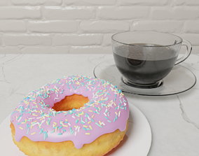 coffee 3D donut and cup