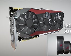 ASUS STRIX GTX 980 TI Low Poly bonus SLI Bridges 3D asset