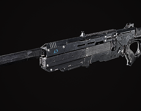 Scifi Rifle 3D model low-poly PBR