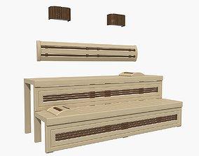pine 3D Sauna bench 01