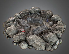 low-poly Camp Fire Pit - CMP - PBR Game Ready 3 Model