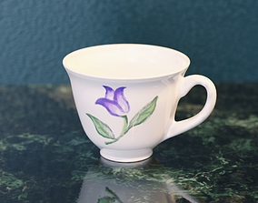 Cup with flower pattern 3D model