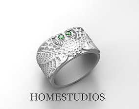 3D printable model RING OWL WITH GEMS