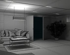 3D Dark Living Room With City View