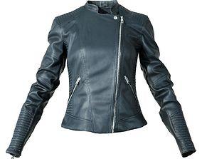 Black Leather Biker Jacket 3D asset