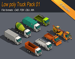 Low Poly Truck Pack 01 3D asset