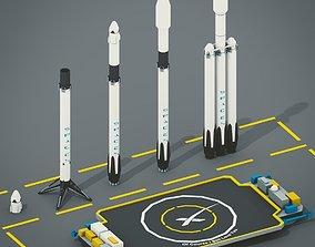 3D asset LowPoly Falcon 9 Falcon Heavy Spaceport Drone 1
