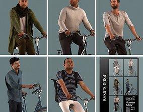 Set of 3D men on a bike