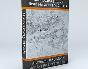 3D Krasnoyarsk Road Network and Streets