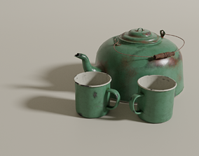 3D model Tin kettle and cups