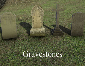 Gravestones 3D asset low-poly