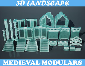 3D model Low poly Medieval modular Ice construction Pack