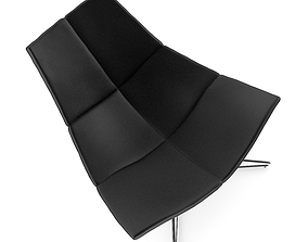 3D Black Leather Swivel Armchair