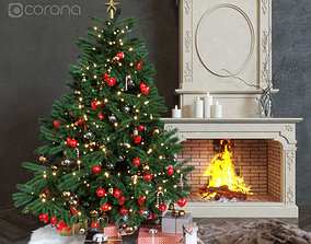New Year live tree and fireplace 3D