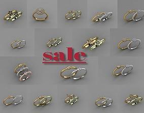 silver 3D model -19 pcs- trend rings