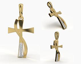 3D printable model jewelry JESUS CROSS DIAMOND PENDANT