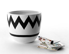 Charlie Brown Pot with Stack of Magazines 3D model