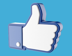 Facebook like thumb up hand icon 3D pictogram