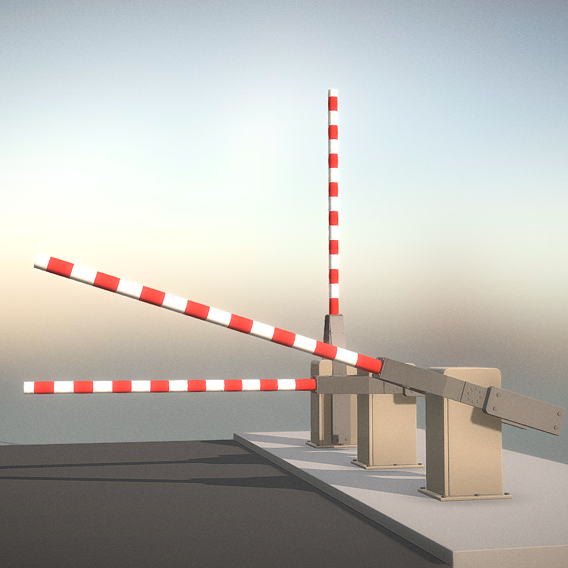 Railroad Barrier 3m High-Poly (Blender-2.91 Eevee)