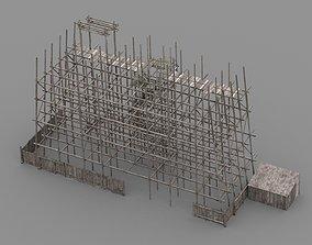 wodden scaffold 3D model low-poly