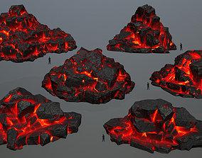 lava rocks 3D asset low-poly