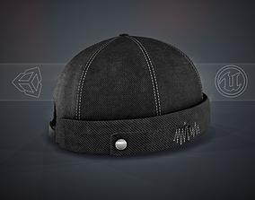 3D asset Full Black Jeans Brimless Cap