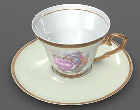 Coffee Cup Porcelain Retro 3D Model 3D model