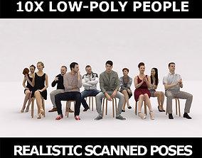 10x LOW POLY ELEGANT CASUAL SITTING PEOPLE VOL01 3D model