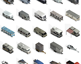 Trailers and Motorhomes Collection 3D model