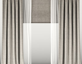 3D Brown curtains with tulle and roman blinds