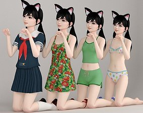 Manami various outfit pose 03 3D cute