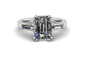3D print model Emerald Three stone ring