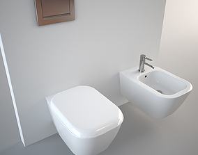 3D model Pozzi Ginori Toilet and Bidet Q3 Wall Hung
