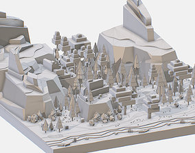 Isometric style grey big mountain landscape 3D asset