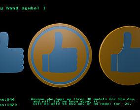3D asset Low poly hand symbol 1