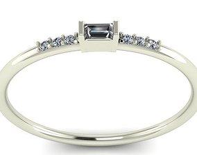 jewel 3D printable model baguette ring