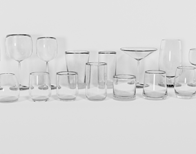 Drinking Glass Set 3D model game-ready