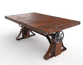 3D Vintage Industrial Crank Table