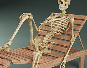 Skeleton on sunbed 3D