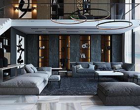 3D model Living room in a modern style lamp