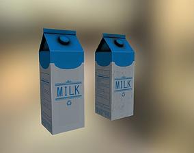 Milk carton 3D model bottle game-ready