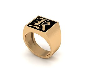 3D printable model Old English Letter Ring K