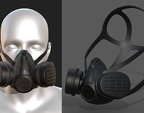 VR / AR ready Gas mask helmet 3d model military 1