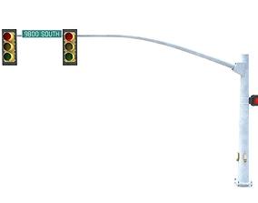 3D asset Street Light with Traffic 03
