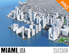 Miami City Florida Low Poly 3d model VR / AR ready 3