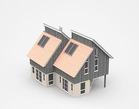 3D model Semi-detached Two-storey House