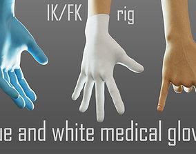 3D model gloved medical hand